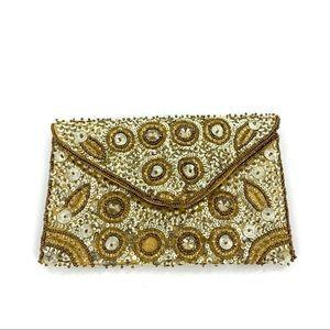 Gold Sequin Beaded Envelope Clutch Bag